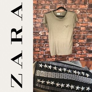 Zara Military Green T-Shirt with Shoulder Pads